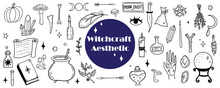 Hand Darwn Vector Witchcraft Clipart. Graphic Line Work Of Magical Tools Set. Mystical Elements Set. Different Types Of Vector Dark Academia Tools. Isolated Vector Witchcraft Icons.