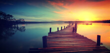 Wooden Jetty At Sunset. Dreamy...