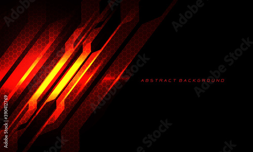 Valokuvatapetti Abstract red fire circuit cyber slash hexagon mesh on black with blank space and text design modern technology futuristic background vector illustration