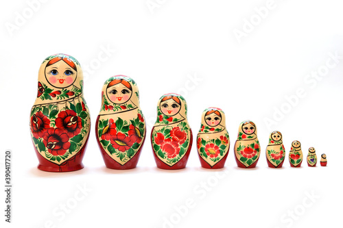 Canvas Print A set of nesting dolls lined up from largest to smallest