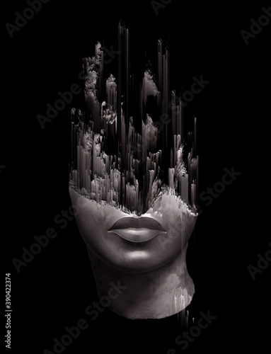 Fototapeta Glitch pixel sorting illustration of a broken fragment of a antique head sculpture isolated on black background from 3D rendering
