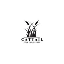 Cattail Logo Vector Illustration Design Vintage