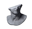 Fragment of colossal head sculpture of classical style in monochromatic grey tones isolated on white background. 3D rendering illustration.