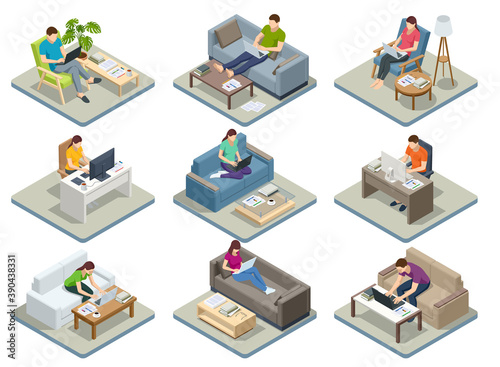 Obraz Isometric business man amd woman working at home with laptop and papers on desk. Freelance or studying concept. Online meeting work form home. Home office. - fototapety do salonu