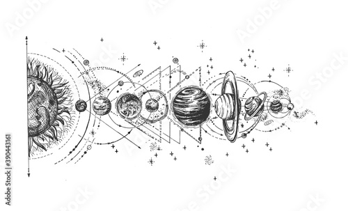Solar system infographic sketch Wallpaper Mural
