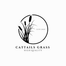 Cattail Grass Logo Vector Illu...