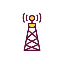Satellite Tower Sign Color Line Icon. Isolated Vector Element.