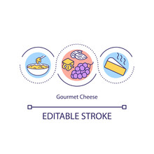 Gourmet Cheese Concept Icon. Dairy Product Idea Thin Line Illustration. Fondue. Cheese-tasting Party. Condensed Flavor. Cheddar Cheese. Vector Isolated Outline RGB Color Drawing. Editable Stroke