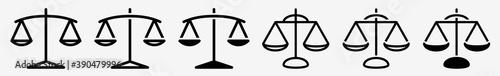 Scales Icon Set   Justice Scales Vector Illustration Logo   Libra Balance Icons Fototapeta