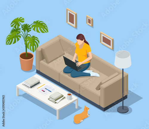 Obraz Isometric business woman working at home with laptop and papers on desk. Freelance or studying concept. Online meeting work form home. Home office. - fototapety do salonu