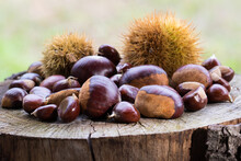 Closeup Of Chestnuts On Wooden...