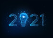 Happy New Year digital web banner with futuristic glowing low polygonal 2021 number and light bulb