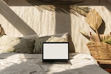 Blank Screen Laptop In Bed Wit...