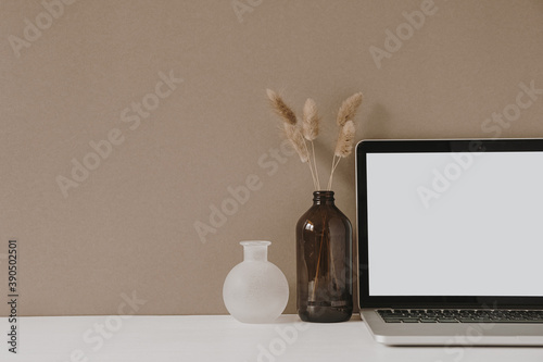 Obraz Blank screen laptop. Home office desk table workspace with fluffy plant in bottle on pastel beige background. Copy space mockup blog, website template. Blogger, outsourcing freelancer hero header. - fototapety do salonu
