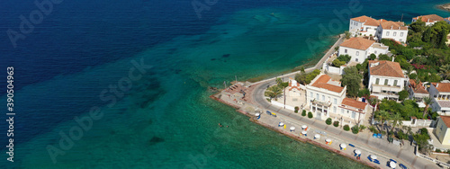 Canvastavla Aerial drone ultra wide photo of small chapel of Agios Mamas and three cannon mo
