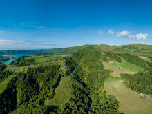 Panoramic View Over The Luxurious Green Landscape With The Seven Cities Lagoon At The Background. São Miguel Island. Azores.