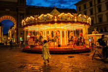 Beautiful Vintage Carousel At Night In Piazza Della Repubblica - Florence, Tuscany, Italy.