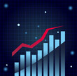 bars chart with increase line gradient style icon vector design