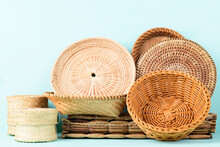 Handicraft Handmade From Natural Product (wicker Basket, Woven Bamboo Plate And Basket, Weave Rattan Sheet. Eco Friendy And Sustainable Concept