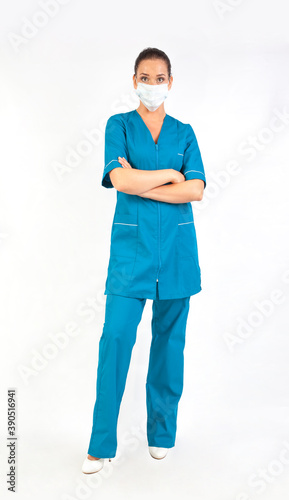 Young medical doctor isolated over white background Canvas Print