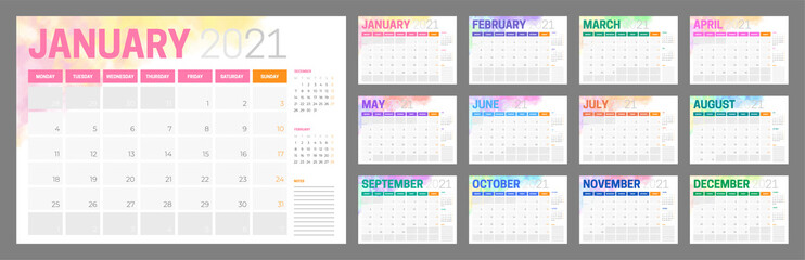Colorful 2021 Calendar Design with Different Color for Every Month