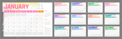 Obraz Colorful 2021 Calendar Design with Different Color for Every Month - fototapety do salonu