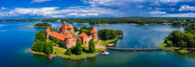 Aerial View Of Trakai, Over Medieval Gothic Island Castle In Galve Lake. Flat Lay Of The Most Beautiful Lithuanian Landmark. Trakai Island Castle, Most Popular Tourist Destination In Lithuania