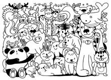 Vector Cartoon Big Set Of Cute Doodle Animals. Perfect For Postcard  Birthday  Baby Book  Children Room