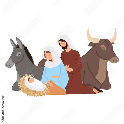 Canvas Print nativity, manger scene holy mary with baby jesus joseph donkey and ox