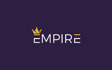 Word Mark Logo Formed Empire Crown Symbol In Top Of Letter E With Gold Color