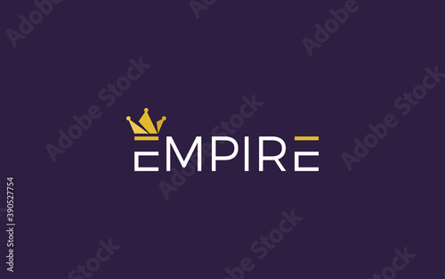 Word mark logo formed empire crown symbol in top of letter E with gold color Fototapeta
