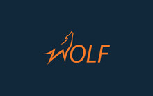 Word Mark Logo Icon Formed Wolf Symbol In Letter W With Orange Color