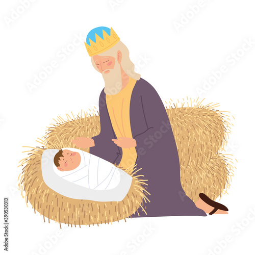 nativity, manger baby jesus caspar wise king with gift cartoon Wallpaper Mural