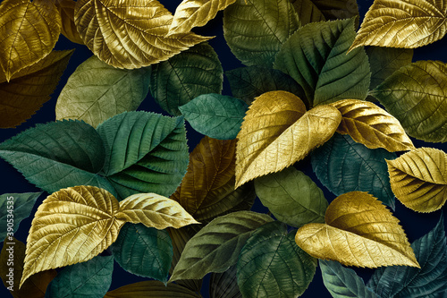 Fototapeta Metallic gold and green leaves textured background obraz