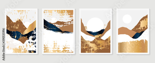 Fototapeta Gold Mountain wall art vector set. Earth tones landscapes backgrounds set with moon and sun.  Abstract Plant Art design for print, cover, wallpaper, Minimal and  natural wall art. obraz