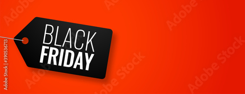 Black friday tag on red banner with text space