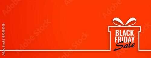 Black friday sale gift on orange web banner Canvas