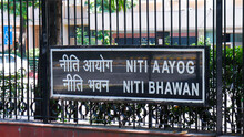 Delhi, India - OCT 2, 2020 Boards Outside Niti Aayog Building On Sansad Marg. It Was Earlier Called Planning Commission And Is The Main Think-tank Of Govt Of India And Advises It On All Policy Matters