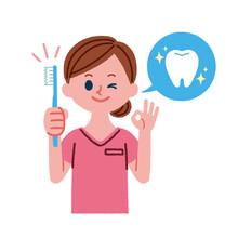 歯ブラシを持った歯科助手のイラスト素材