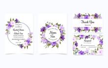 Set Of Pretty Purple Flower Wedding Invitation