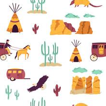 Seamless Pattern With Famous Landmarks, Symbols Of Arizona State, USA.