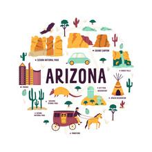 Abstract Circle Design With Landmarks And Symbols Of Arizona State, USA