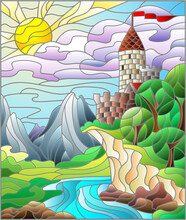 Illustration In The Stained Glass Style With A Landscape, An Old Castle On The Background Of The River And The Sky, Rectangular Image