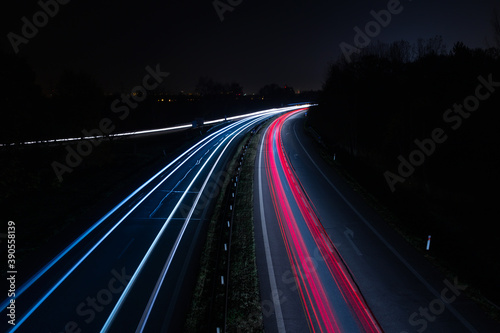 Vehicle car light trails on highway in red and white color Fotobehang