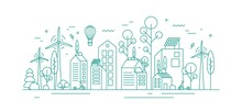 Modern Environmentally Friendly City With Ecological Infrastructure, Roof Greening, Solar Panels And Windmills. Monochrome Vector Lineart Illustration Of Eco Cityscape With Alternative Energy