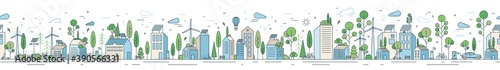 Obraz Vector horizontal line art illustration of eco cityscape with alternative energy. Seamless pattern with environmentally friendly city with roof greening, solar panels and windmills - fototapety do salonu