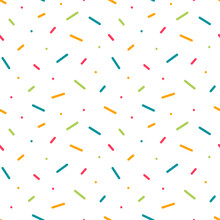 Colorful Confetti, Dots, Sprinkles Vector Seamless Pattern Background For Party Design.