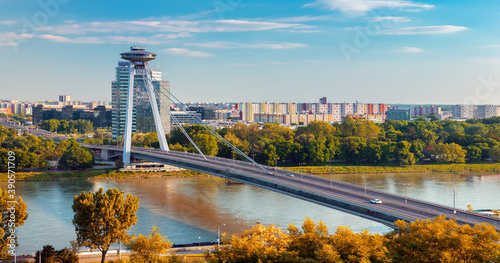 Sunrise on Bridge SNP and UFO tower view point over Danube river in Bratislava c Canvas