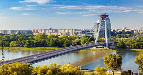Sunrise on Bridge SNP and UFO tower view point over Danube river in Bratislava c Fotobehang