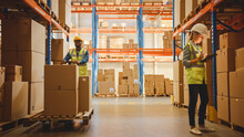 Retail Warehouse Full Of Shelves With Goods In Cardboard Boxes, Workers Scan And Sort Packages, Move Inventory With Pallet Trucks And Forklifts. Product Distribution Logistics Center.